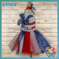 Wholesale 2 layers Red White Crochet Top Tutu Dresses Blue stars tutu Dresses with Headband set Baby Frock Designs