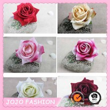 Hawaiian Colorful Simulation Fabric Rose Flower Brooch and Alligator Hair Clip/