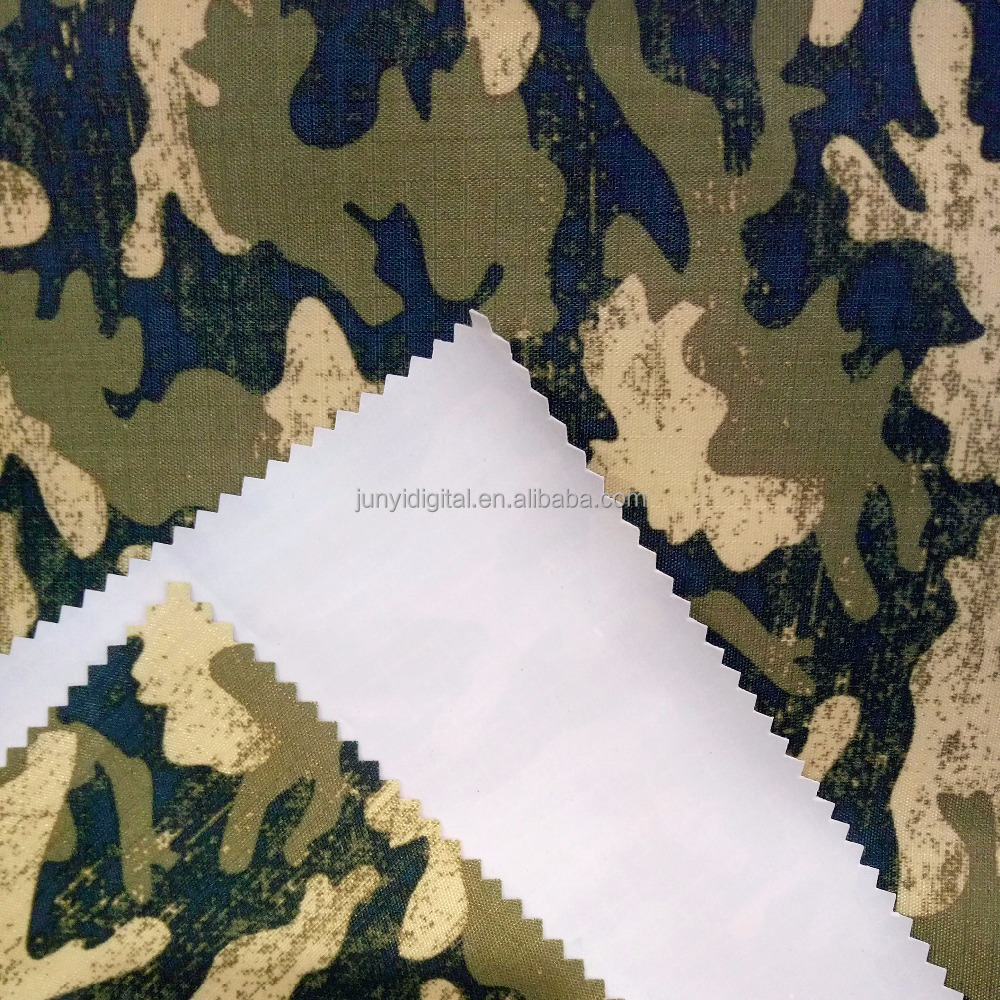 Classic waterproof pvc coated Camouflage Printed polyester riptop bag fabric material for backpack