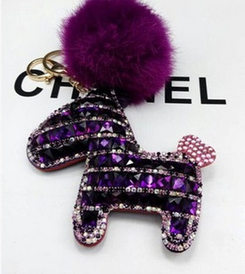 Diamond Stone Rodeo Horse Pendant for Handbag and bag with fur ball