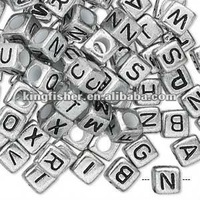 Jewelry 7x7mm silver plated cube acrylic letter beads!! New acrylic alphabet letter beads for jewelry makings!! Hottest!! !!