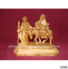Olive Wood Flight To Egypt Figures