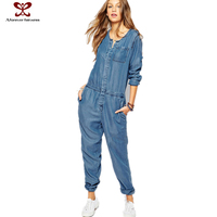 Long Sleeve Women Causal Jeans Jumpsuit Spring New Fashion Clothes For Women,Jeans Jumpsuit