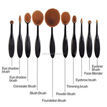 Personalized Oval shape Black tooth brush cosmetic makeup brushes 10 pieces/set