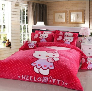 Hot sales hotel, home 100% cotton /polyester baby cat print bedding set
