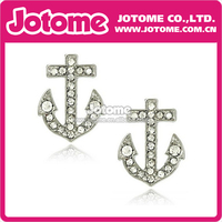 2014/2014 Large Crystal Nautical Anchor Silver Tone Stud Earrings Fashion Jewelry for Teens and Women