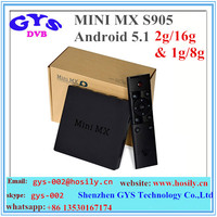 Shenzhen GYS New model android tv box MINI MX Android 5.1 S905 2G/16G with nice look smart tv box