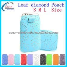 leaf diamond leather pouch for nokia all models