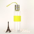 350ml cute bpa free clear plastic bottle with rubber ring