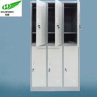 Galvanized 6 door metal lab wall cabinet/decorative storage locker cabinet with key lock