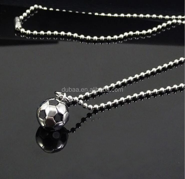 Stainless Steel 3D Soccer Football Charm Necklace Lucky Charm Pendant & Chain Unisex Jewelry Enamel Soccer Ball Sports Gift