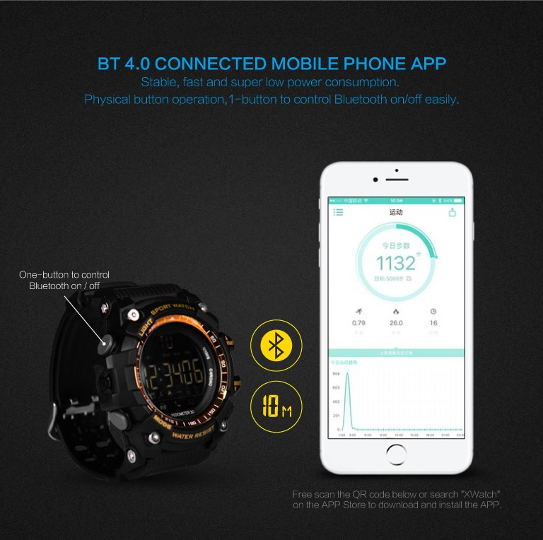 Mens Smart Watch Bluetooth 4.0 Digital LED Watch 5ATM IP67 Waterproof Smartwatch Pedometer Call SMS Reminder Sports Wristwatch