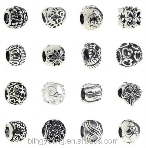 European jewelry 925 sterling silver butterfly bead