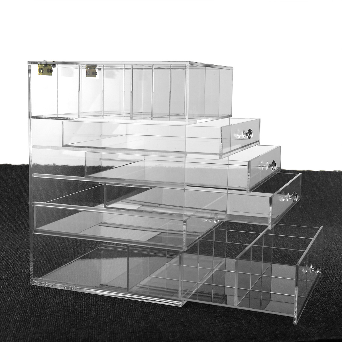 Acrylic/Plastic/Lucite make up organizer with drawers