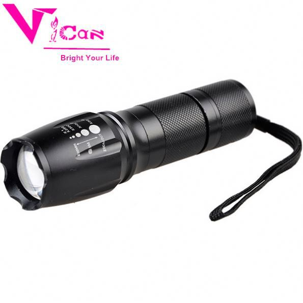 High-Powered Tactical Flashlight With 5 Modes & Zoom Function Camping Aluminium Alloy Multipurpose Outdoor Flashlight
