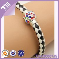 hot sale cheap ball &leather wrap bracelet with magnetic clasp