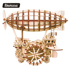 Robotime Mechanical Gear Drive wind up DIY wooden toy 3D wooden gear models DIY wooden puzzle LK702 Air Vehicle
