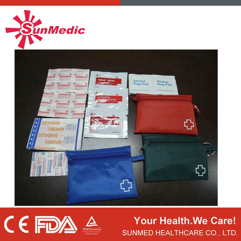 Factory price travel first aid kit, hot selling emergency kit, key ring first aid kit