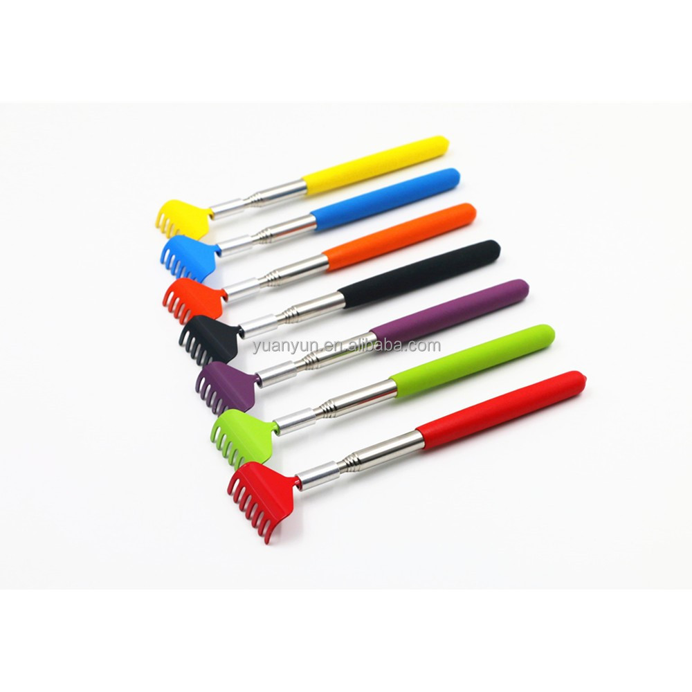 Max coloured stainless steel telescopic itch scratch Extendable back scratcher with metal LOGO printing scratching helper tool