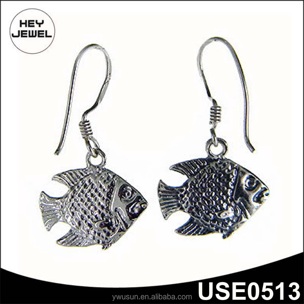 Wholesale Animal Earring Hook Silver Vivid Fish Drop Earring