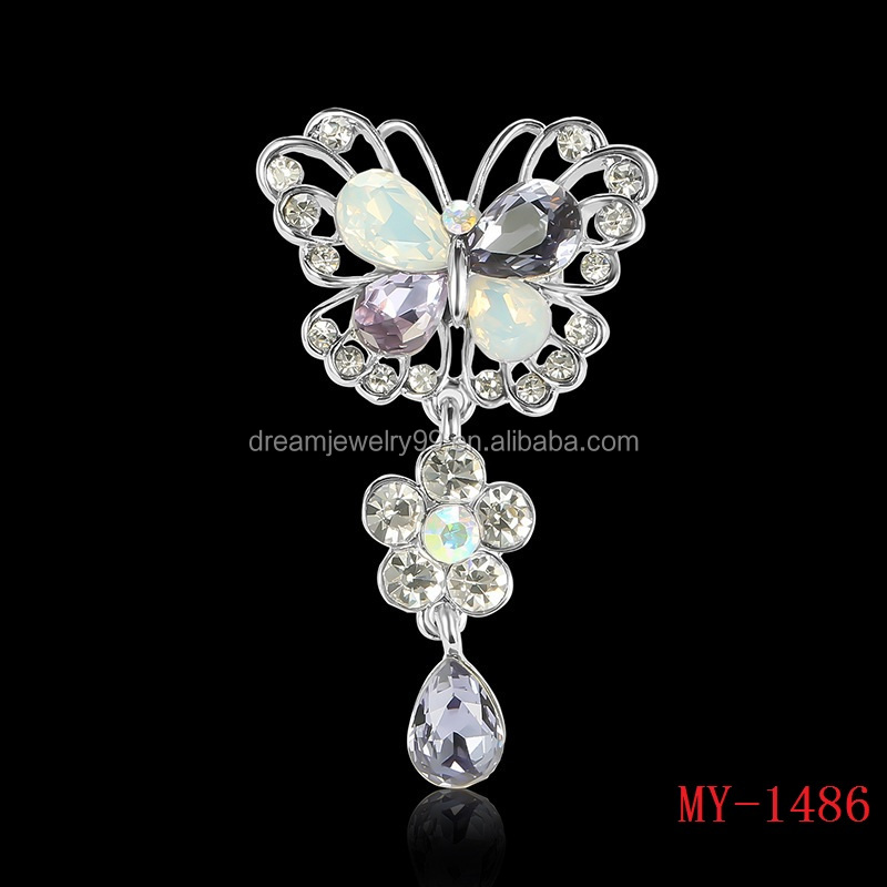 The new men and women Austria crystal bow brooch platinum plated brooch zircon high-grade suit brooches