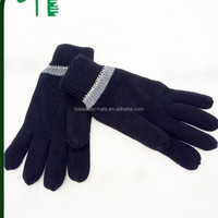 Knitted Black Acrylic Gloves