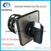 Rotary switch YMZ5-25/2 25A 8 terminals 2 poles 3 positions 1-0-2 Changeover cam Switch silver contacts high quality Yaming