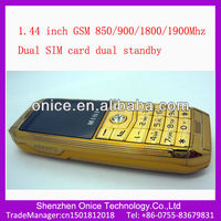 chinese luxury mobile phone 1.44 inch Mini007 gsm850/900/1800/1900mhz gold color mobile phone