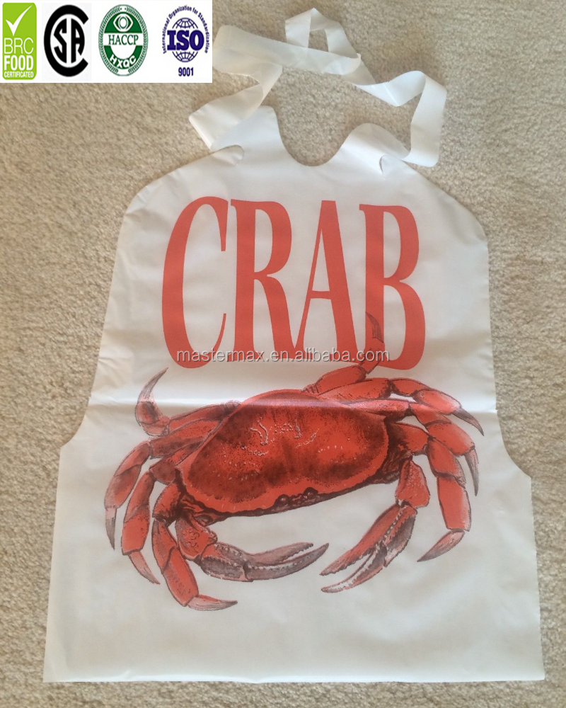 Whloesale Price One Time Use Lobster Printed Disposable Bibs for Restaurant