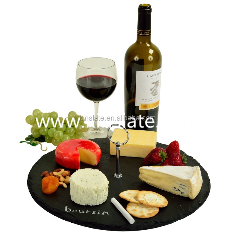 Convenient black slate stone tray dinnerware slate serving tray with Laser Design (Customized)