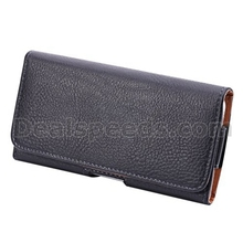 Black Texture Leather Bag Pouch Case for Samsung Galaxy S7 w/ Belt