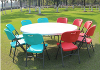 Wholesale high quality and cheap plastic 6ft round folding table and chair