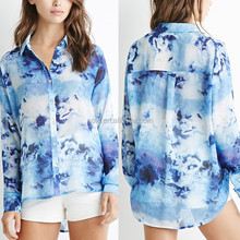 Oem manufacturer women garments all over print fancy long sleeve shirts for ladies