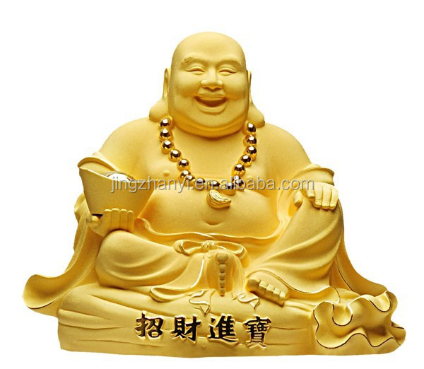 office decor, wealth buddha statues, gold plated laugh buddha
