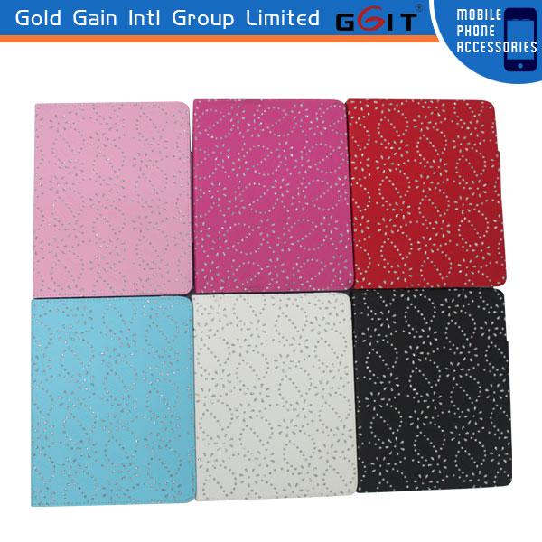 Hot Diamond Bling Sparkly Flip Cover Case For Ipad 3 Leather Case
