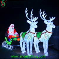 LED lighting reindeer sleigh and santa claus carriage light