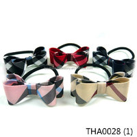 Classic Grid Plaid Tartan Check Double Ribbon Bow Elastic Hair Tie Rope String Band Ring Accessory Ponytail Holder Preppy