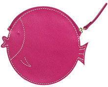 Women small fish shape genuine leather coin purse with zipper