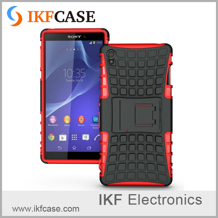 Heavy Duty Armor Kickstand Shockproof Hybird Hard Soft Silicon Rugged Rubber Case For Sony Xperia Z3 D6603 D6643 D6653 D6616
