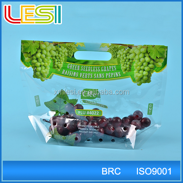 portable recloseable custom printed plastic zip lock bag punch hole bag for grape cherry fruit packaging