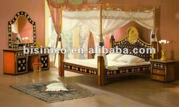 Luxury classical wooden&24K gold plated copper canopy bed ,MOQ:1SET(B6014)