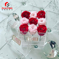 Custom logo clear acrylic flower rose storage boxes with hinged lids