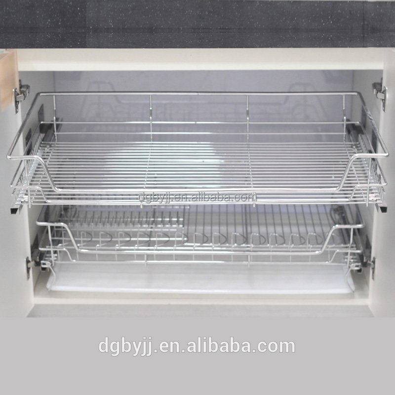 Baiying 2016 Sept Cheapest Double Layers Custom Metal Wire Pull Out Drawer Basket