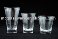 Handmade clear ribbed tumbler glass