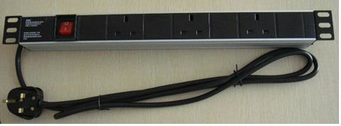 "19"" 1U 3 way British type power distribution unit Aluminum shell"