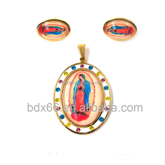 Hot Sell Stainless Steel Religious Resin Virgen De Guadalupe Blessed Pendant With Clay Crystal Jewelry Set For Easter Holiday