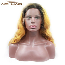 lace front wigs with dark roots orange short wig yellow wig