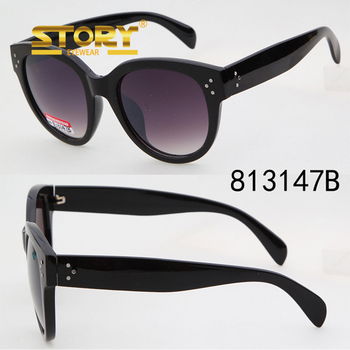 STORY Thick Frame Rivet Insert Retro Round Cat Eagle Eye Level One lvxing sunglasses