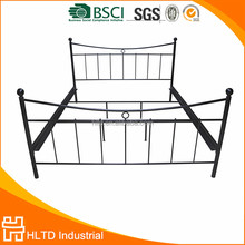 Decorative Ball L Shape Metal Bed Iron Frame Double Bed for Kids