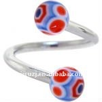 316l stainless steel rings with diamond uv balls body piercing jewelry, fashion twisted barbells